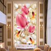 High Quality Deep Texture Relief 3D Murals Pink Flowers Pebble Goldfish Photo Wallpaper Hotel Living Room