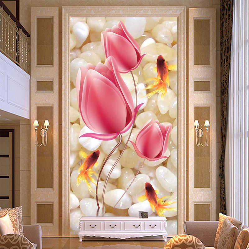 Hohe Qualität Tiefe Textur Relief 3D Wandmalereien Rosa Blumen Pebble Goldfisch Foto Tapete Hotel Wohnzimmer Eingang Hintergrund Wand
