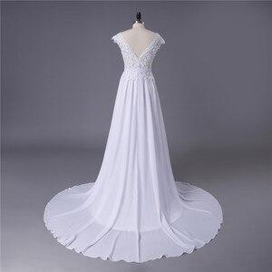 Image 2 - 2020 תפור לפי מידה סקסי זול שמלות כלה Vestido דה Noiva Casamento שיפון תחרה ללא משענת Robe De Mariage כלה תוצרת סין