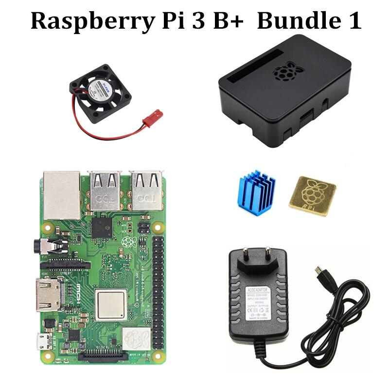 Kit Raspberry Pi 3 Modèle B + Officiel Cas ventilateur 5V3A alimentation Dissipateurs pour RPi 3 Modèle B Plus