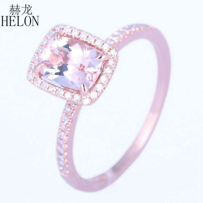 купить HELON Solid 14K Rose Gold 1.37CT Cushion 7x5mm Morganite Engagement Wedding Natural Diamonds Fine Ring For Women's Jewelry Ring по цене 26790.79 рублей