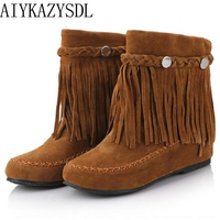 AIYKAZYSDL Bohemian gypsy boho ethnic national women tassel fringe Faux suede leather ankle boots woman girl flat shoes booties