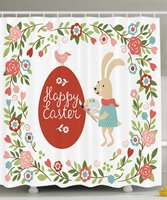 Vixm Easter Decorations Holiday Gifts Fabric Shower Curtain, White Green Blue Red Coral Pink