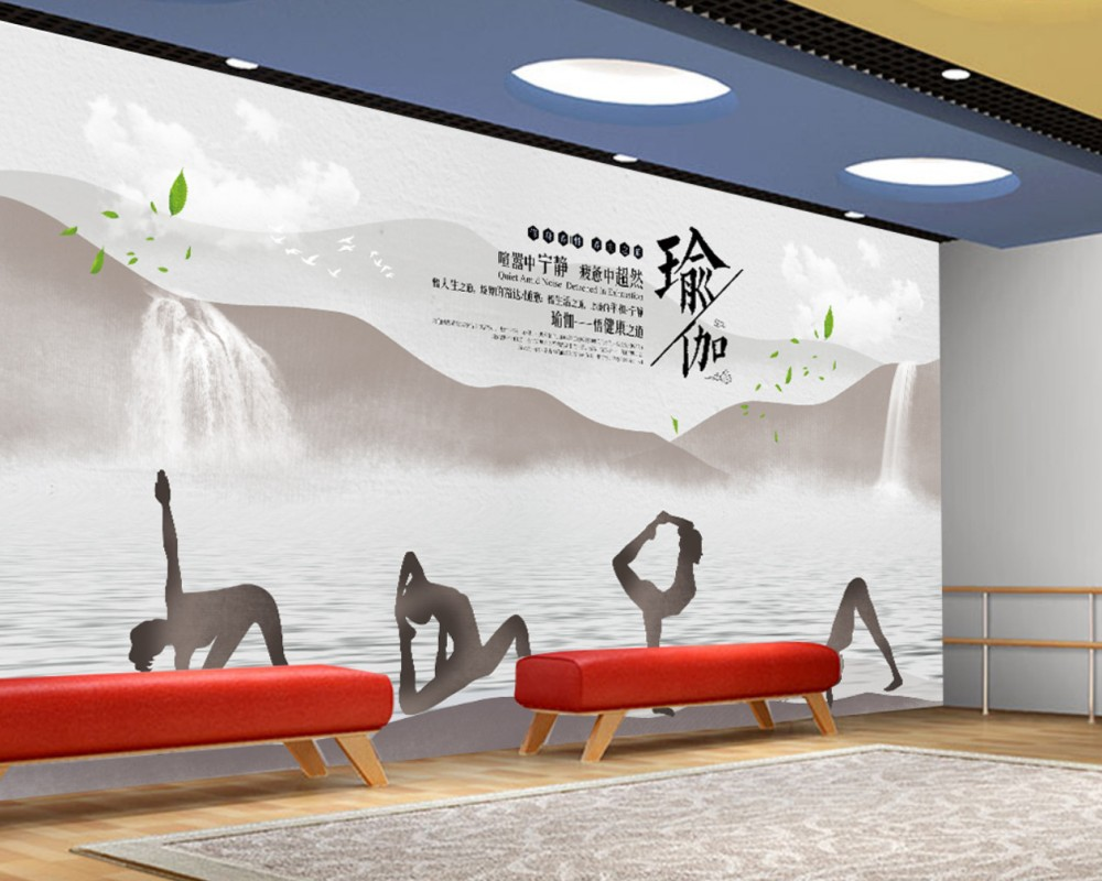 Us 170 50 Offfree Shipping Yoga House Simple Wallpaper Gym Mural Chinese Ink Fitness Yoga Wall Custom 3d Beauty Fitness Decoration Wallpaper In