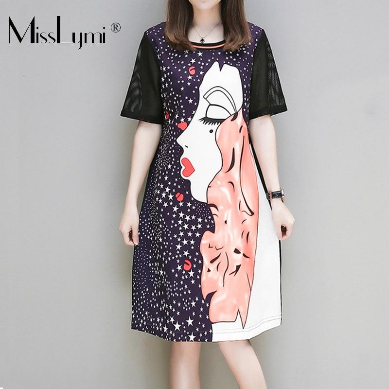 XL-5XL Plus Size Women Beach Dresses Summer 2018 Hollow Out Mesh Short Sleeve Patchwork Star and Beauty Girl Print T shirt Dress
