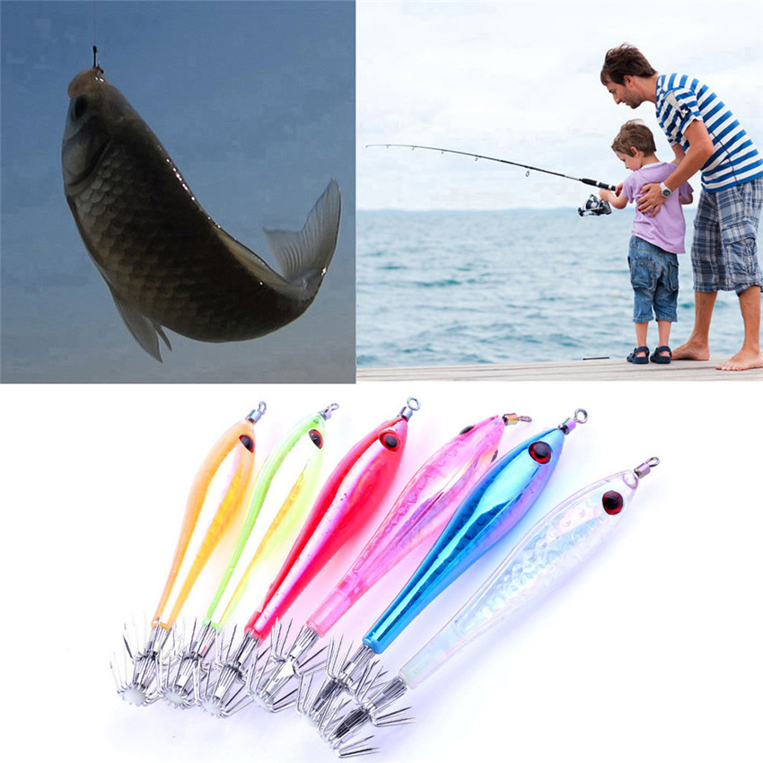 Fishhook 5 Pcs Outdoor Fishing Lures Luminous Squid Cuttlefish Tackle Jig Artificial Bait Hooks Fishing Lead Jig 3D Eyes M20