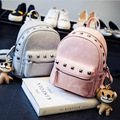 New 2016 Women Fashion PU Leather Rivet Backpack School Bags For Teenage Girls Ladies Small Cute Backpack A306 Black and Pink