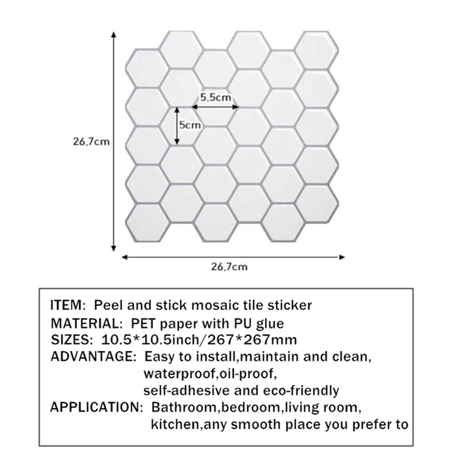 Hexagon Off White Vinyl Sticker Self Adhesive Wallpaper 3D Peel and Stick Square Wall Tiles for Kitchen and Bathroom Backsplash 3