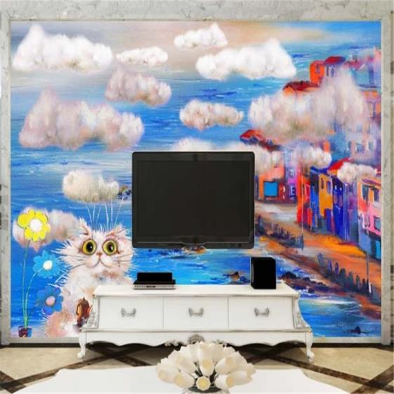 Custom Cartoon Cat Wallpapers Hand Painted Blue Sky Wall Papers Kids Murals for Children Room with Florals Pictures for Walls 3D blue sky чаша северный олень