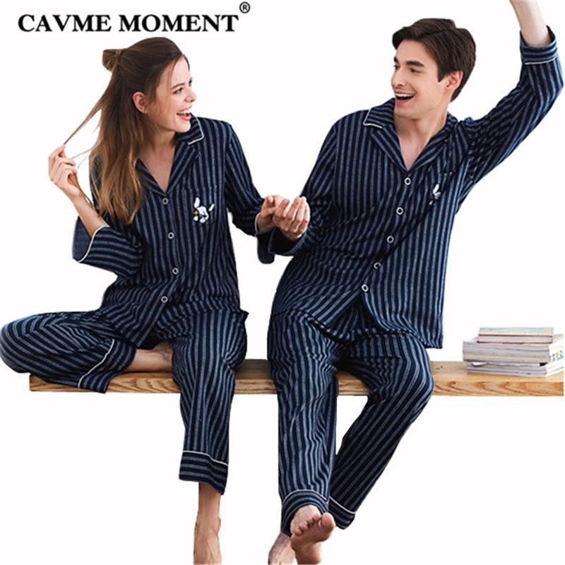 CAVME Luxury Cotton Striped   Pajama     Sets   for Lover Women Femme Ladies Men's Home Clothes Homewear 2Pcs   Set   Nightwear Sleepwear