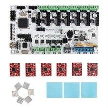 Envío gratis impresora 3D Kits de placa madre Rumba tablero con 6 unids A4988 Stepper conductor 6 unids disipador 3 unids etiqueta