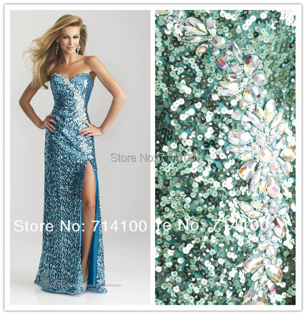 Strapless Sweetheart Long Blue Sequin Prom Dress with Sexy Side Leg Slit  Beading 2014 Custom Made cf95a42cc169