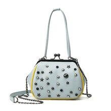 2017Miwind new brand designer sky rivet clip shell package Rivets fashion handbags Pu vintage hand crossed shoulder women bag(China (Mainland))