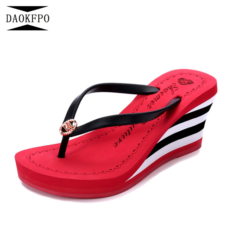 DAOKFPO New 2018 Summer Luxury wedges shoes for women High Heels Platform Stripe Causal Flip flops Beach Slippers Woman NVT-25 daokfpo 2018 summer new genuine leather peacock eye crystal slippers beach slope wedges flip flops shoes woman nvt 24