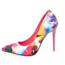 Pumps Women 2019 Ethnic Style Retro Flowers Floral Pointed Women Pump Shoes High