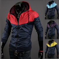 Free Shipping 2013 New Style Fashion Mens Hooded Coats Casual Active Jacket Color Matching Men Windbreak