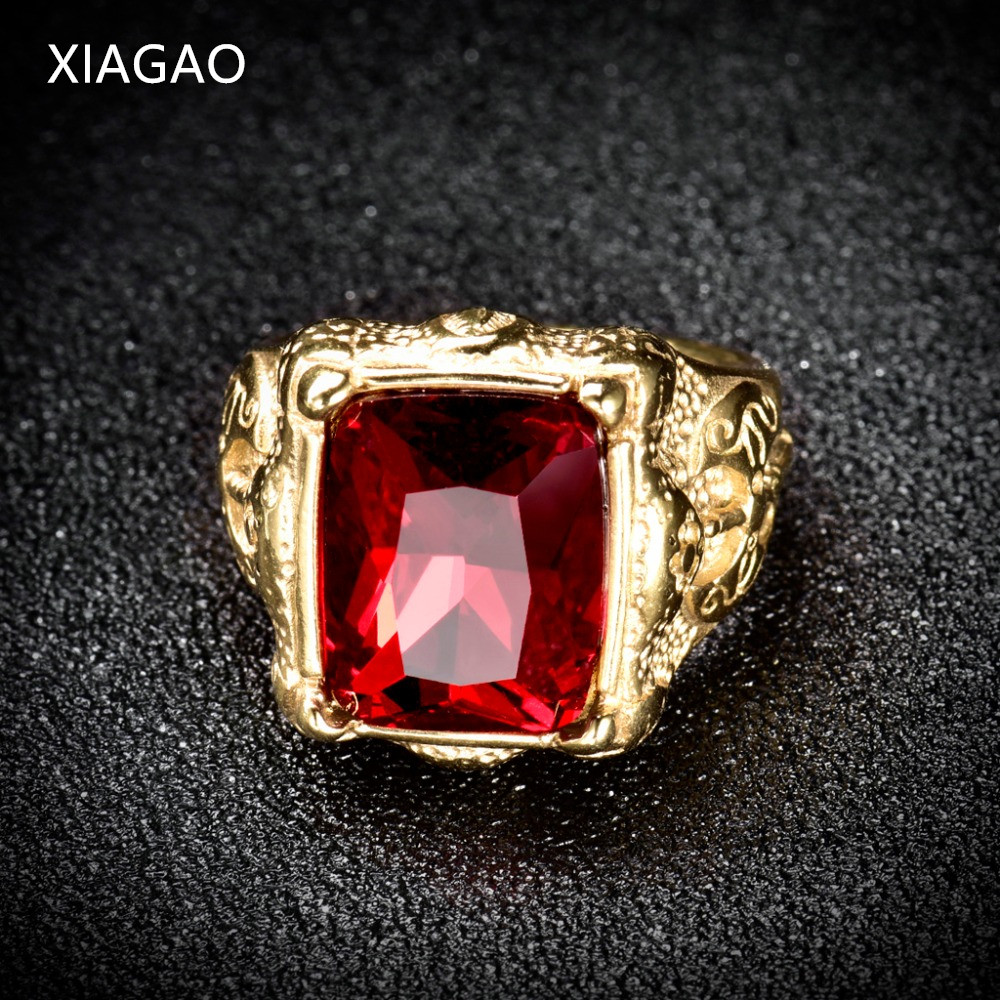 XIAGAO Ring for Man Gold color Red Square Stone Titanium