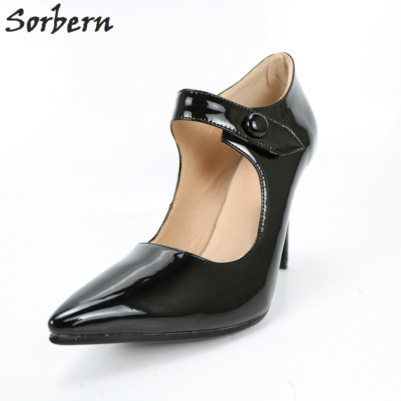 Sorbern Black Pointed Toe Pumps Women Shoes Patent Custom Colors Mary Janes High Heel Shoes Button Sexy Heels Custom Red Sole цена