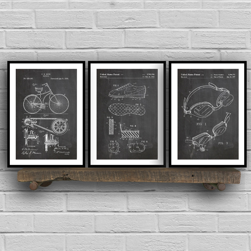 Triathlon Art Patent Group Posters And Prints , Triathlon Cycling Gifts Drawing Canvas Painting Pictures For Home Wall Art Decor