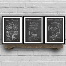 Triathlon Art Patent Group Posters and Prints , Triathlon Cycling Gifts Drawing Canvas Painting Pictures for Home Wall Art Decor(China)
