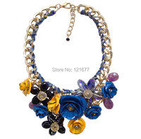 2014 New Z Brand Fashion Hot Pink Crystal Necklace Pendants Chunky Big Choker Metal Flower Vintage