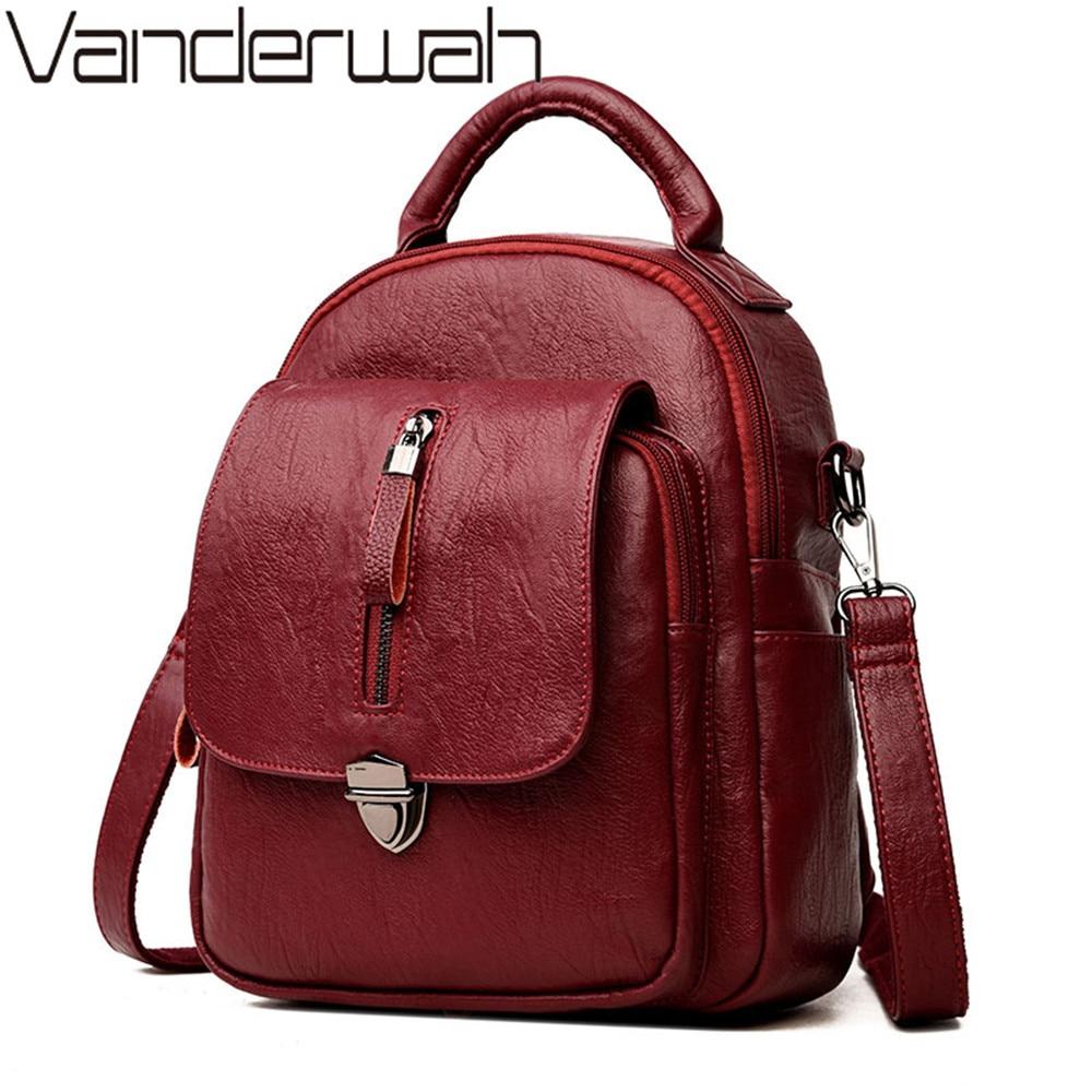 Zipper Women Backpack PU Leather School Backpack For Teenager Girls Fashion Lock Multifunction Backpack Mochila Travel back pack