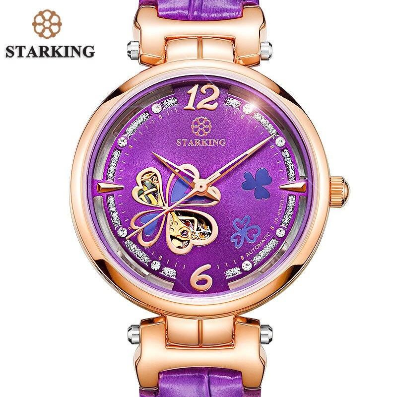 STARKING font b Women b font Watch Female Luxury Brand Purple Leather Strap Automatic Watch font