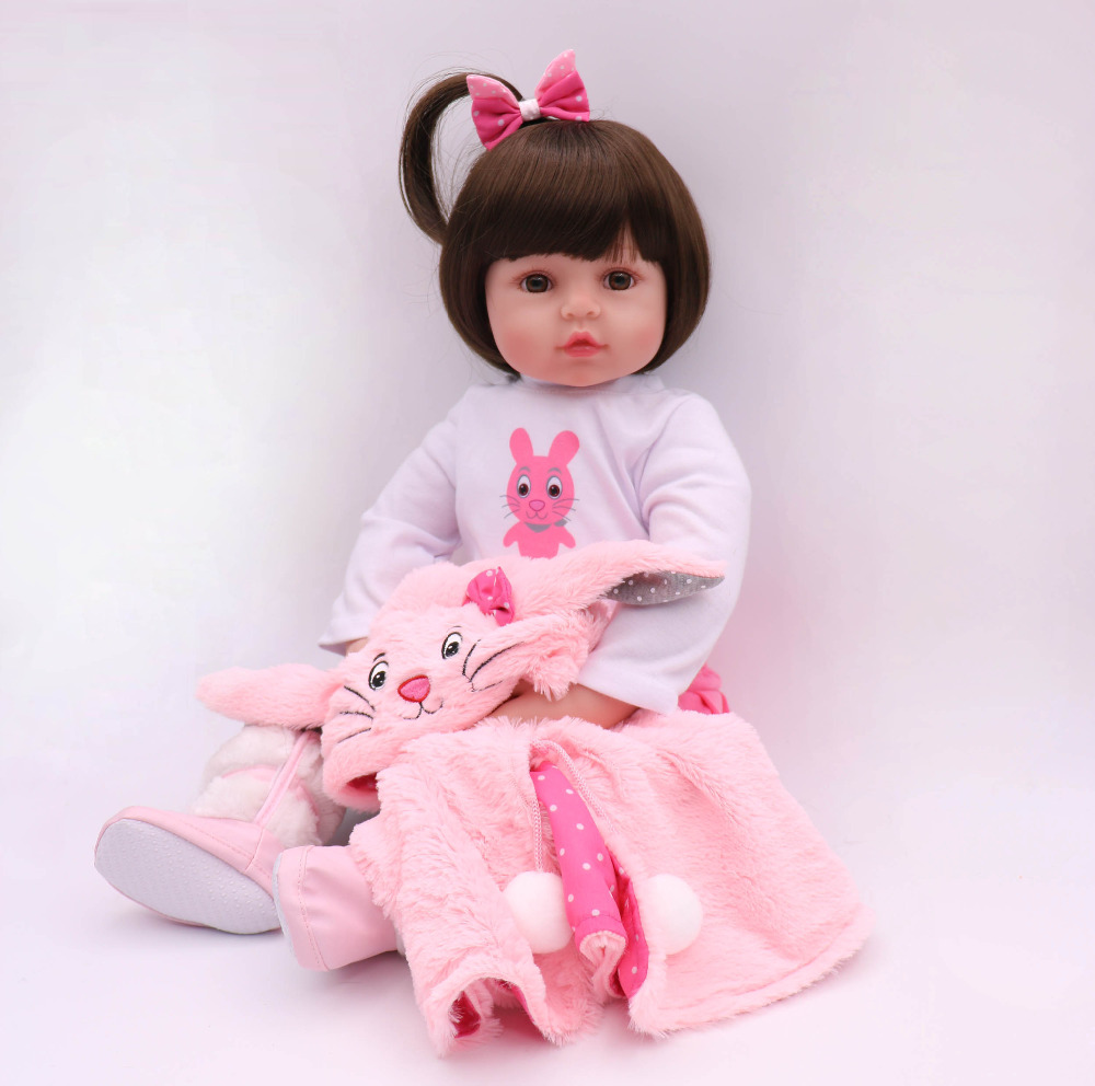 61 cm kawaii princess Silicone Reborn Doll Toddler Doll kit reborn 24 inch Baby girl toys for girls free shipping puppe mini