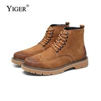 YIGER New Men Boots Martens man Ankle Boots Leather Oxford sole Bullock Man Desert Bots Lace up Male cowboy boots 0167