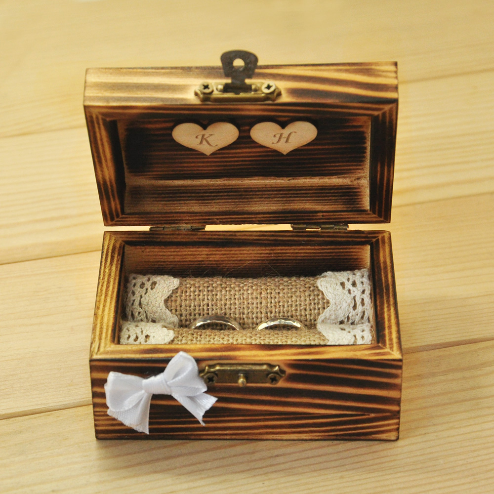 Personalized wedding ring box rustic ring bearer wooden for How to make a wooden ring