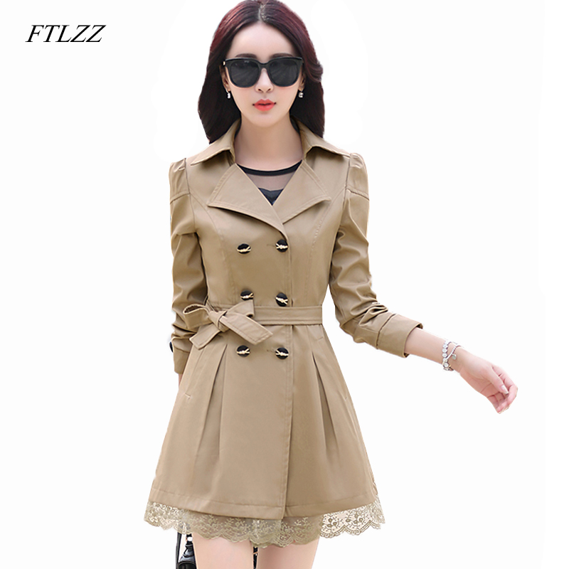 FTLZZ   Trench   Coat Women Double-breasted   Trench   Coat Lace Plus Size Female Autumn Casual Coats Windbreaker Outwear