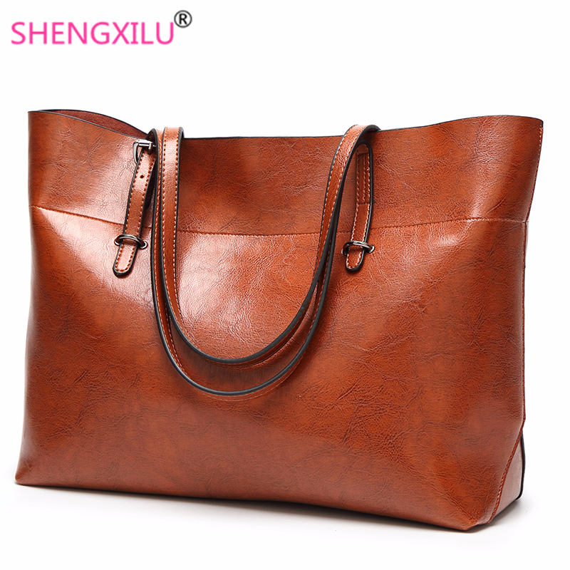 2b88a3e0d499 Shengxilu 2019 New Women Handbags Simple Totes Shoulder Bags Ladies  Crossbody Bags Vintage Leather Female Luxury Top-handle Bags