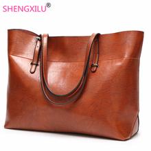 Shengxilu 2019 New Women Handbags Simple Totes Shoulder Bags Ladies Crossbody Bags Vintage Leather Female Luxury Top-handle Bags