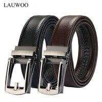 LAUWOO 2017 Men Belt Designer Cow Genuine Leather Belts Man Automatic Buckle Cowhide Belts Luxury