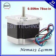NEMA23 stepper motor 41mm 2.8A 0.55N.m 78Oz-in Nema 23 4wires Hybird stepper motor CNC stepping motor For CNC machine 3D printer