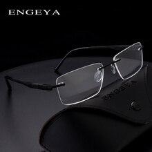 2016 ENGEYA 超軽量チタン合金処方メガネフレーム、レトロな明確な光学リムレス眼鏡は、男性の #164