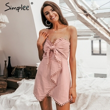 Simplee Sexy off shoulder playsuit women Elegant tassel bow embroidery short jumpsuit