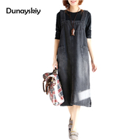 New Fashion Sundress Long Dresses Summer Women Denim Strap Solid Jean Dress Loose Fitting Sleeveless Long