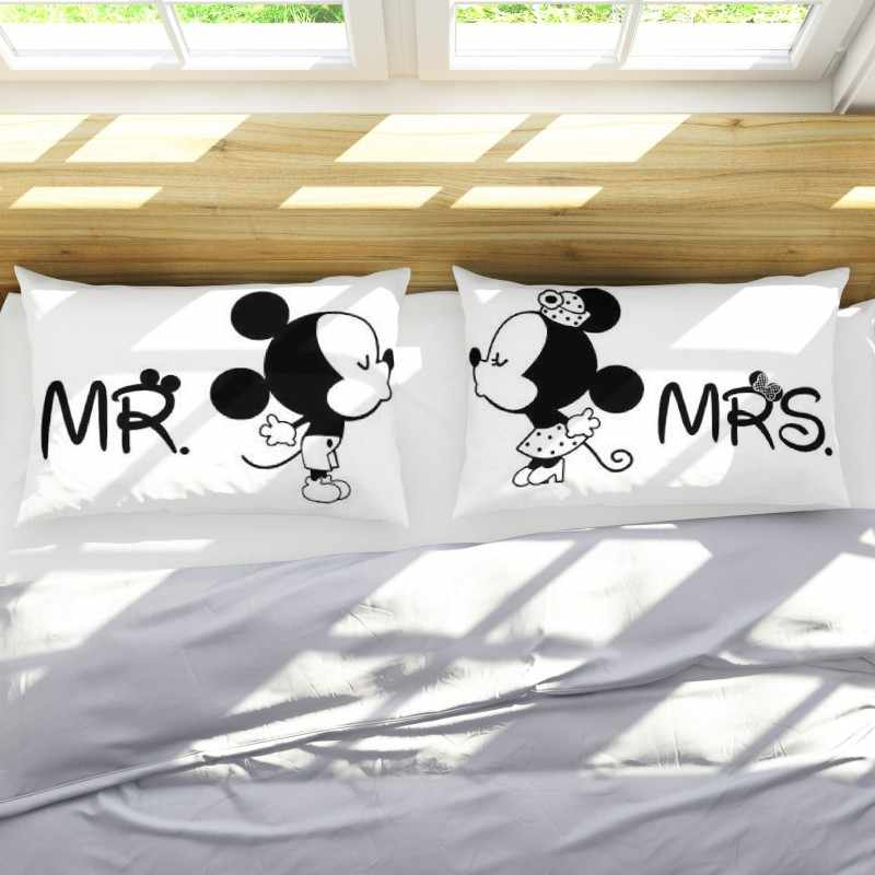 Fundas de almohada 3D de Mickey Minnie Mouse Mr Mrs 2 unids/set pareja amante Regalo de Cumpleaños Mr Mrs funda de almohada Shams 50X75cm