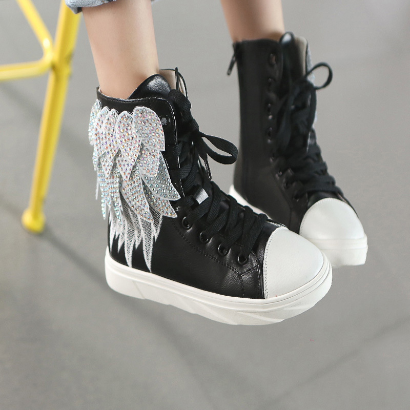 New Spring And Autumn S Shoes Europe America Style Wings High Top Casual Kids Leather Children Sneaker In Sneakers From Mother On