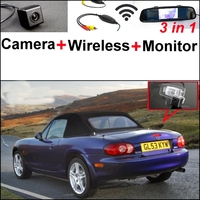 3 In1 Special Rear View Camera Wireless Receiver Mirror Monitor Back Up Parking System For Mazda