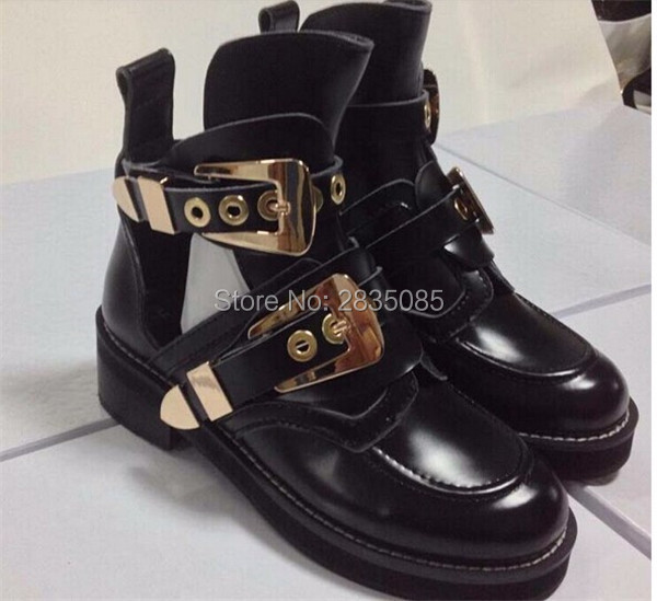 8f53f7224c6 US $80.19 19% OFF|Round Toe Low Heel Black Leather Booties Woman Cut Outs  Motorcycle Boot Vintage Casual Shoes Metal Buckle Ankle Boots For Women-in  ...