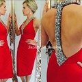 Fast Shipping Short Red Robe Cocktail Dresses Sexy Backless V Neck Crystal Beaded Cheap Prom Party Dress Gowns 2017 Vestidos