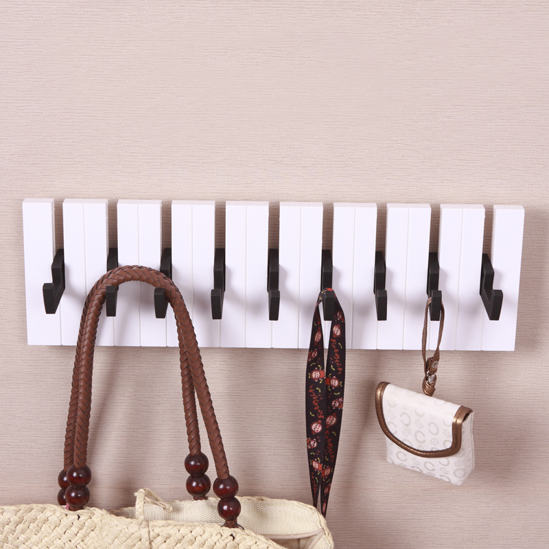 Aqumotic Bedroom Hooks 1pc Long Coat Rack Wall Hanging Piano Keys Sticky  Hook Up Behind The Hanger Door Entrance Wall Decoration In Wall Stickers  From Home ...