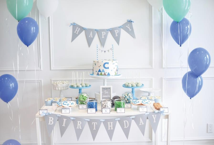 Laeacco Balloon Cake Table Happy Birthday Baby Party Photographic Backgrounds Customized Photography Backdrops For Photo Studio