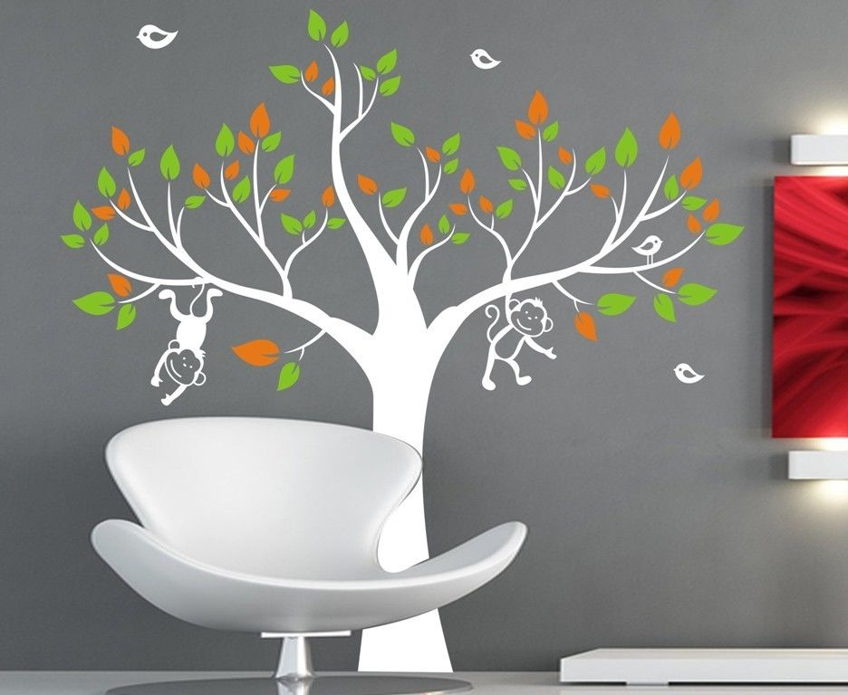 1 3m monkey tree removable wall art stickers kids nursery baby room