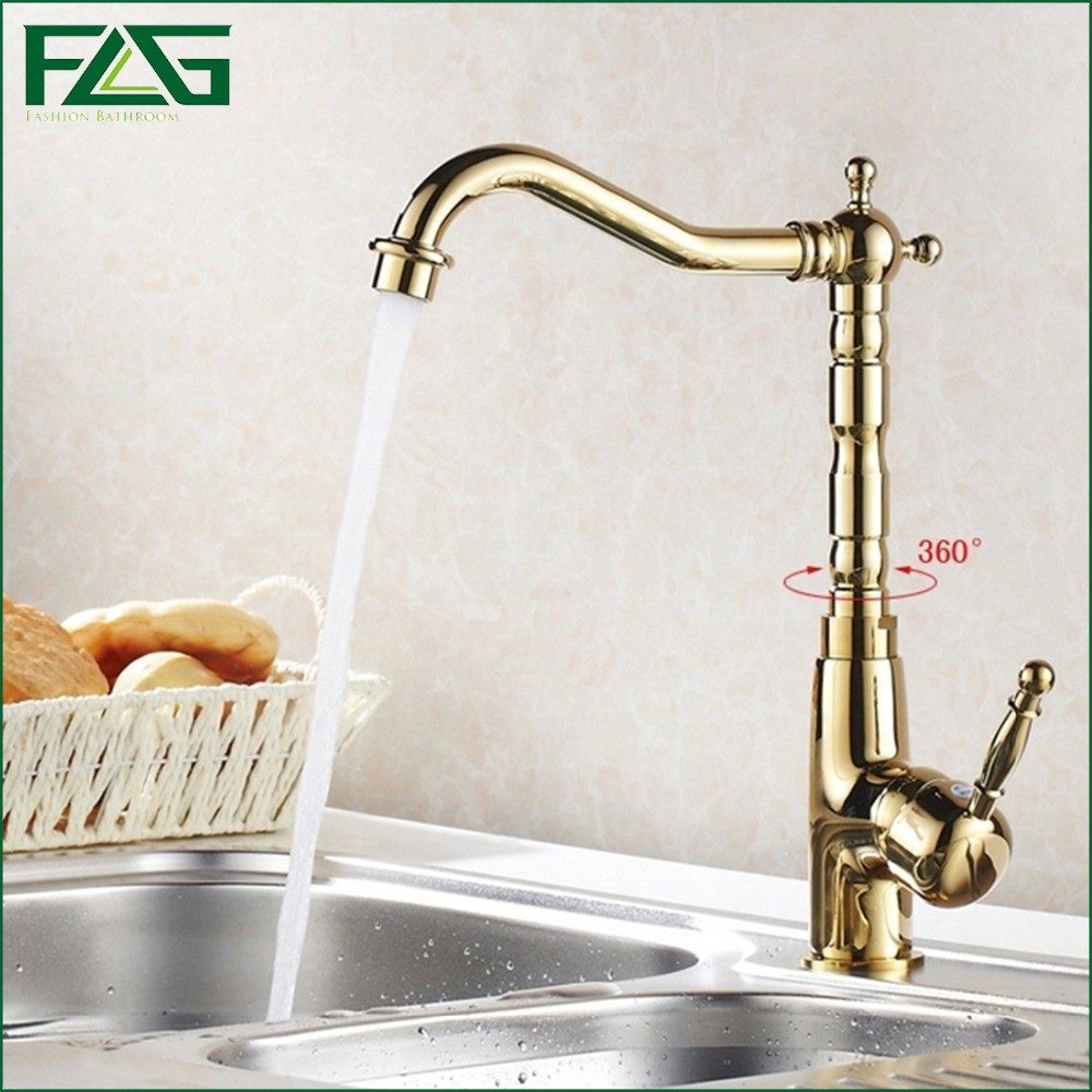 FLG Gold Kitchen Faucet Deck Mounted Cold and Hot Water Faucet 360 Degree Swivel Kitchen Sink Mixer Taps 1005 deck mounted kitchen sink faucet 360 degree swivel hot and cold water mixer tap oil rubble bronze black faucet