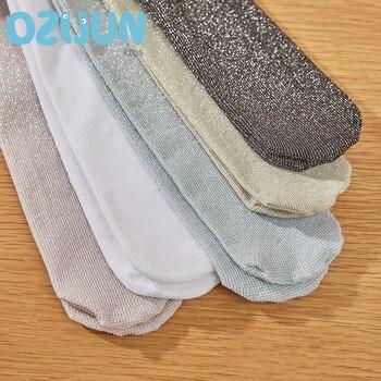 Ozijun New Spring Summer Baby Girls Tights Fashion Glitter Velvet Pantyhose Silver Metallic Yarn Stockings Children - sale item Children's Clothing