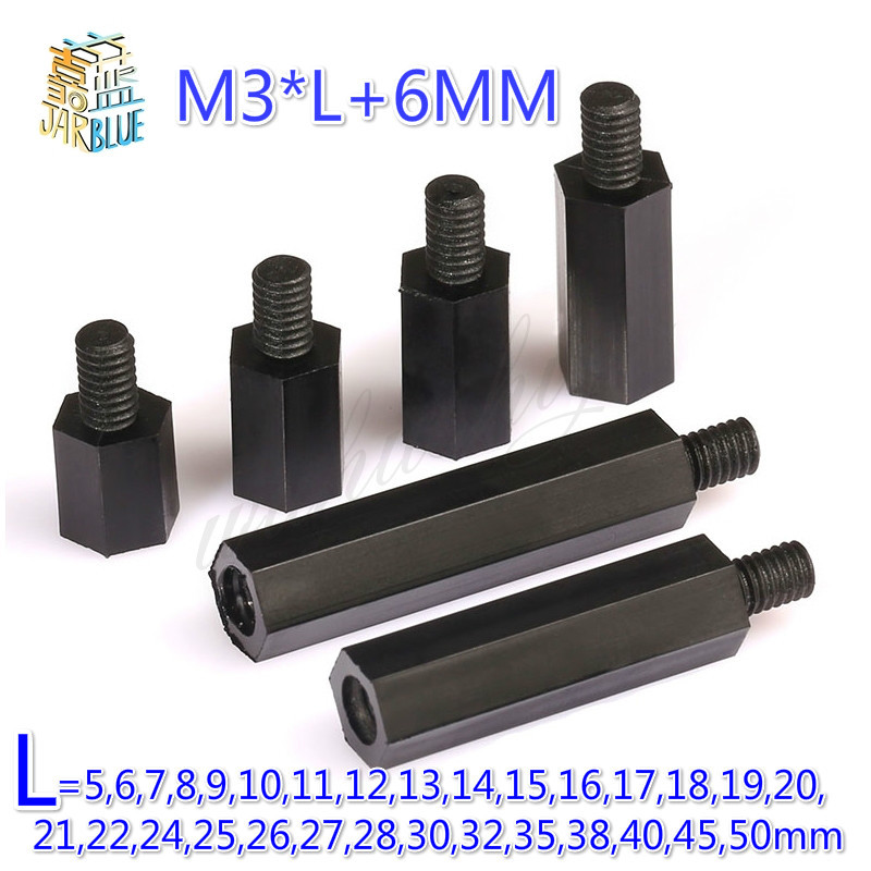 CNIM Hot 50Pcs M3 Thread L=5mm-50mm+6mm PCB Fixed Nylon Hex Standoff Spacer PillarCNIM Hot 50Pcs M3 Thread L=5mm-50mm+6mm PCB Fixed Nylon Hex Standoff Spacer Pillar