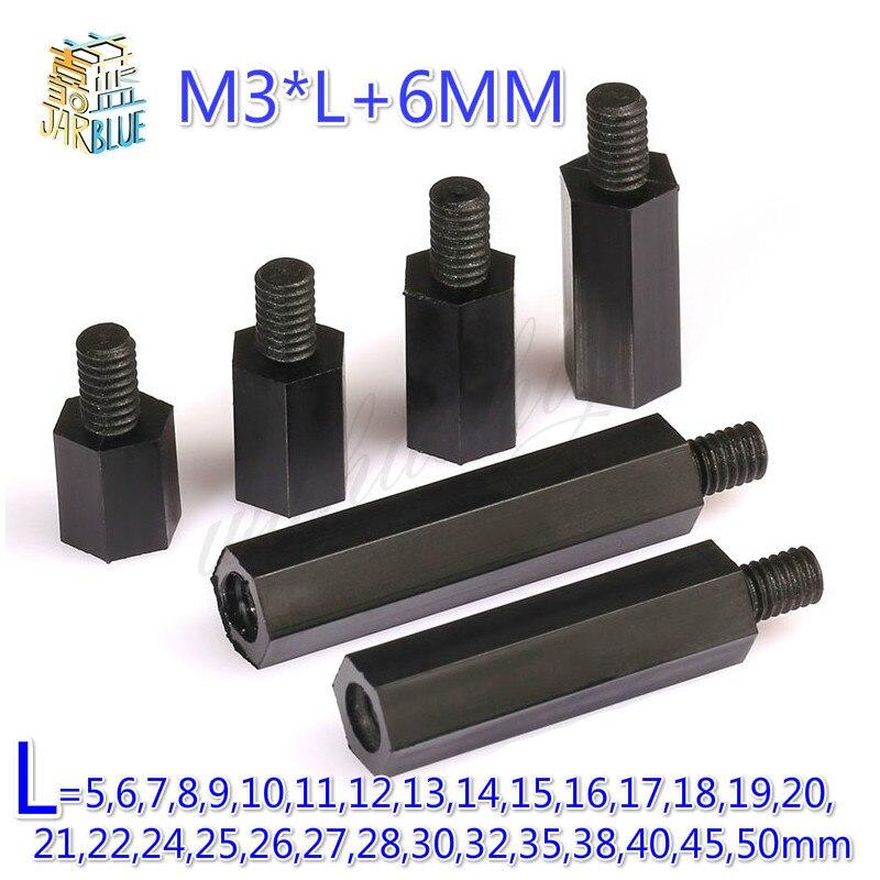 Black Color 5mm 10x Nylon Standoff Spacer M3 Female x M3 Female